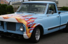 Digitally Printed Vehicles Old School Tri-Color Flame Wrap