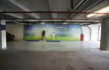 Walls & Interiors Charging Station Wall Wrap in Downtown Seattle Parking Garage