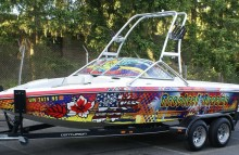 "Boats Centurion Air Warrior Boat Wrap - ""Tropical Dreams"" with Custom 2-Way Vision Film on Windshield (See Through from Inside)"