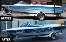 Boats Blue and Black MasterCraft Before/After Side View