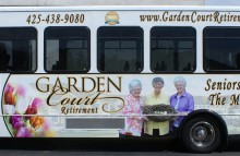 Box Trucks, Buses & Trailers Garden Court Full Bus Wrap