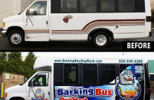 Box Trucks, Buses & Trailers Barking Bus Dog Wash Shuttle Bus Wrap