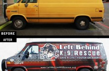 Cars Vans & Trucks Left Behind K-9 Full Van Wrap Before and After