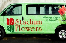Cars Vans & Trucks Full Wrap for Stadium Flowers on Chevy Express Van