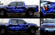 Digitally Printed Vehicles Full Digital Camo Wrap on Ford Raptor